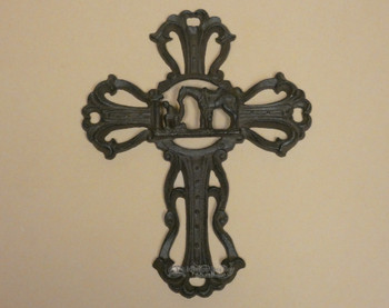 Western Metal Art Cross- Praying Cowboy