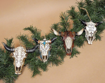 Steer Skull Christmas Ornament Set