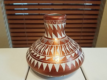 Copper Finish Horse Hair Pottery Vase