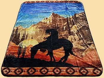 Plush Southwest Designer Queen Blanket -End of Trail