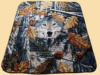 Plush Southwest Designer Queen Blanket -Camo Wolf