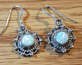 Native American Navajo Silver Earrings - Opal