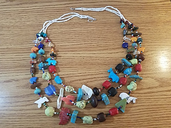 "Native American Treasure Necklace 27"" -3 Strand"