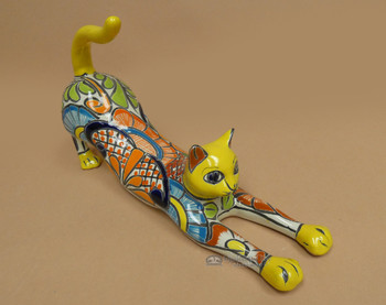 Hand Painted Talavera Stretching Cat