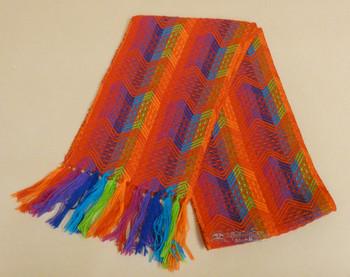 100% Alpaca Wool Scarf -Red/Rainbow