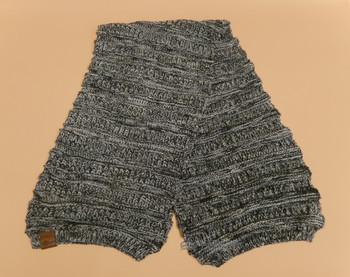 Knitted Alpaca Wool Scarf -Black/Grey