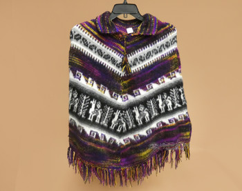 Knitted Alpaca Collared Poncho