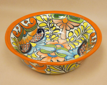 Large Hand Painted Mexican Talavera Bowl  (33bc3)