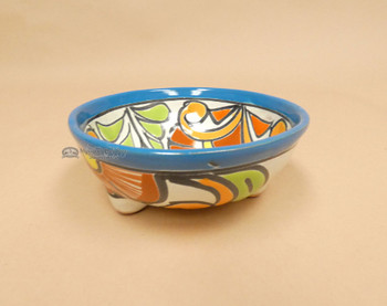 Southwestern Hand Painted Talavera Footed Salsa Bowl  (33bc21)