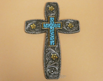 Rustic Turquoise & Flowers Cross