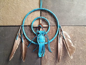 Native American Medicine Wheel Dream Catcher -Turquoise