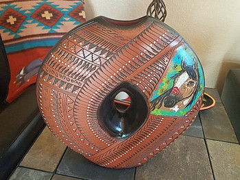 Hand Painted Navajo Etched Pottery Pillow Vase