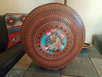Hand Painted Navajo Etched Pottery Pillow Vase -Painted Pony