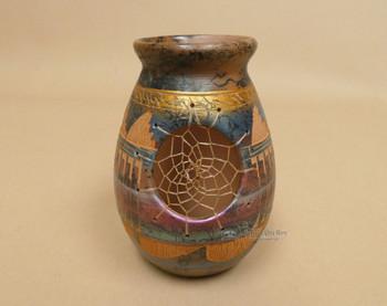 Etched Navajo Dreamcatcher Pottery Vase