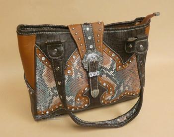 Faux Leather & Snakeskin Purse