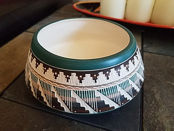 Native American Navajo Hand Etched Pottery Bowl