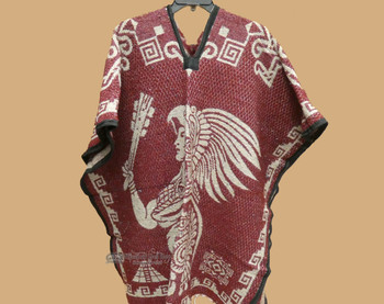 Mexican Blanket Poncho -Maroon Aztec Warrior