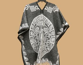 Mexican Blanket Poncho -Gray Mayan Calendar