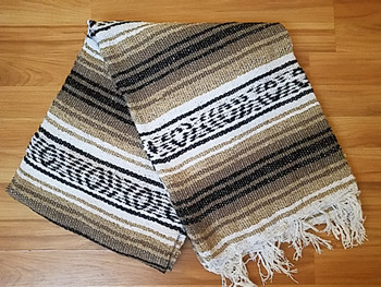 Traditional Mexican Falsa Blanket -Brown/Tan