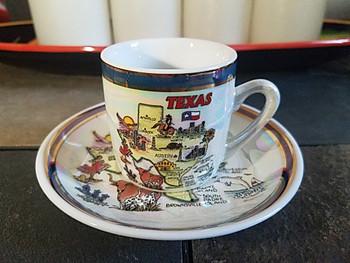 Colorful Texas souvenir collector cup and saucer