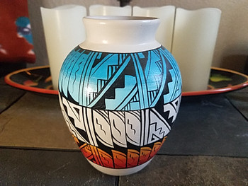 Native American Navajo Hand Painted Vase