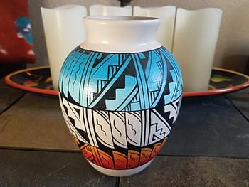 Native American Navajo Hand Painted Vase