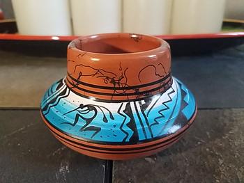 Native American Navajo Hand Painted Vase - Kokopelli