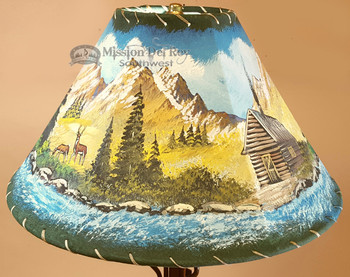 """Painted Leather Lamp Shade - 16"""" Cabin"""