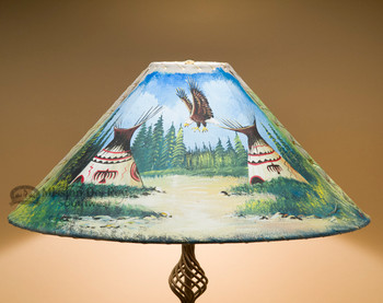 "Painted Leather Lamp Shade 24"" -Eagle Village"