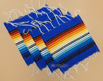 Southwestern Mexican Serape Coaster Set of 4 -Blue