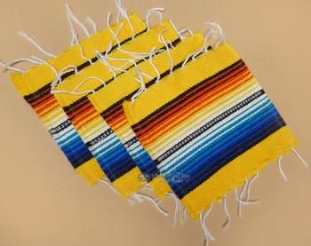 Southwestern Mexican Serape Coaster Set of 4 -Yellow