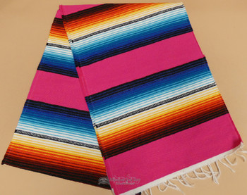 Southwestern Mexican Style Serape Table Runner -Hot Pink