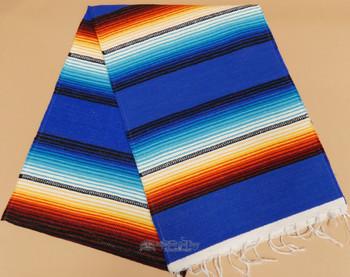 Southwestern Mexican Style Serape Table Runner -Blue