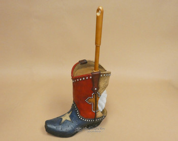 Western Texas Flag Boot Toilet Brush Holder