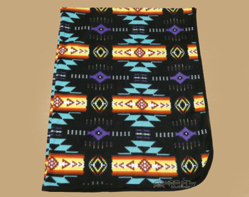 Southwestern Style Fleece  throw Blanket - Black