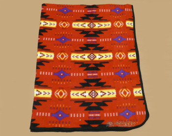 Native Pattern Fleece Blanket -Red