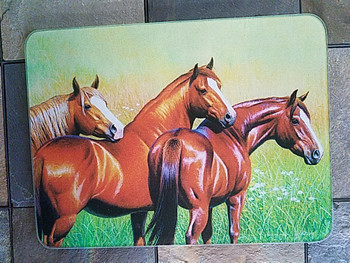 Tempered Glass Cutting Board 16x12 -Horses