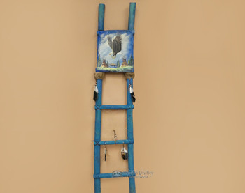 Tarahumara Painted Kiva Ladder -Soaring Eagle