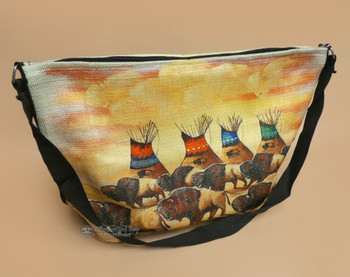 Southwestern Cowboy Art Purse -Buffalo Camp