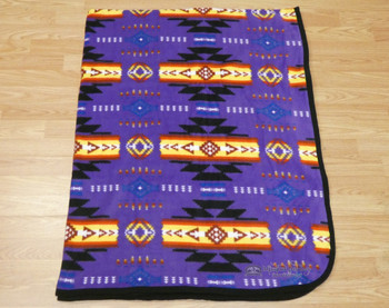 Western Style Fleece Blanket -Purple
