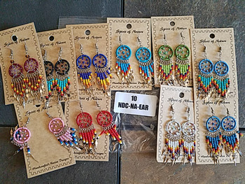 Bulk Spirit of Nature Beaded Dreamcatcher Earrings 3""