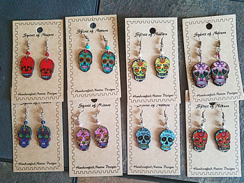Bulk Spirit of Nature Sugar Skull Earrings