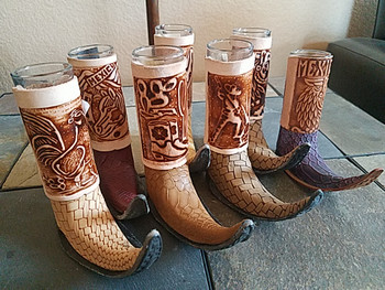 Bulk Leather Covered Tribal Boot Shot Glass