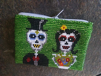 Seed Bead Day of the Dead Coin Purse