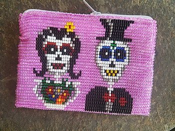 Seed Bead Day of the Dead Coin Purse -Skeleton Couple