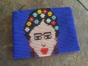 Seed Bead Coin Purse -Frieda Kahlo