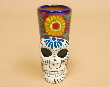 Mexican Day of the Dead Sculpted Sugar Skull Shot Glass