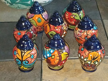 Hand Painted Mexican Talavera salt shakers