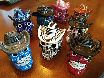"""Assorted Mexican Day of the Dead Skull 3"""" -Cowboy"""