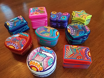 Assorted Mexican Hand Painted Clay Pill Boxes